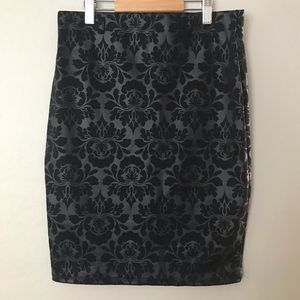 Stretchy black on black print skirt